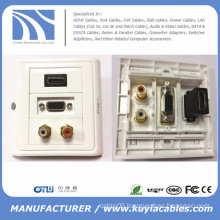 86*86mm HDMI and VGA and AV wall face plate , Module Faceplate