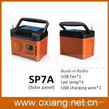 mini solar home lighting system / portable DC solar system with FM Radio