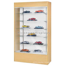 Quality Sliding Door Glass And Wood Display For Toys, Scale Model Car Show Case Display Glass