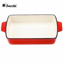 Cast iron dish pan enameled coating