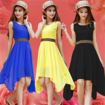 Plus Size Girl Knee Length Peach Chiffon Dress