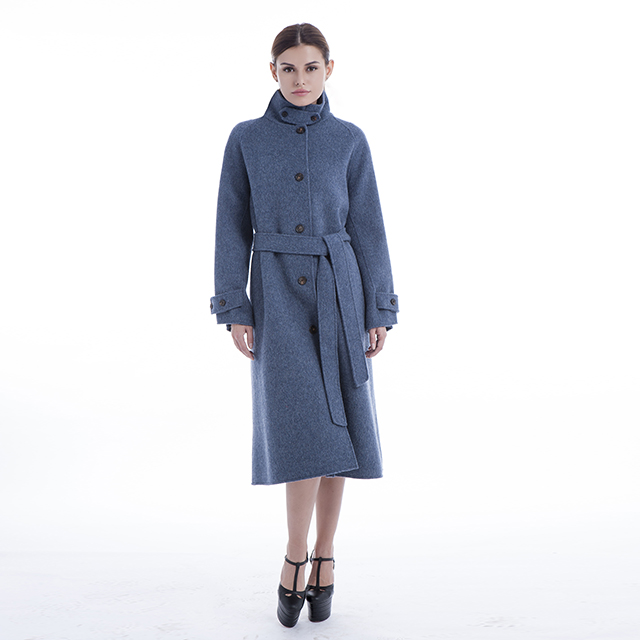 Blue single-breasted cashmere overcoat