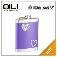 impresión de pantalla de 6oz frasco frasco de la cadera color de rosa de acero inoxidable
