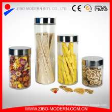 Set 4 Clear Custom Glass Jar Airtight Screw Lid Canisters