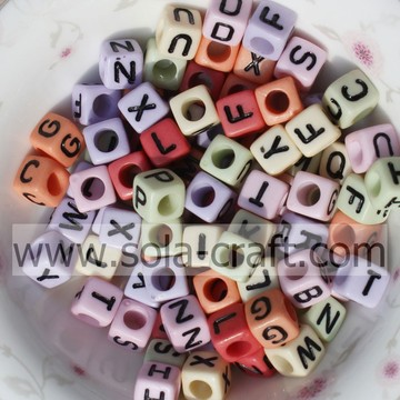 Opaque Faceted Cube 26 Letter Acrylic Beads with Hole for jewelry for Children