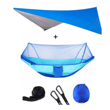 Portable Outdoors Mosquito Net Swing Hammock Chair With Waterproof Canopy Awning Set
