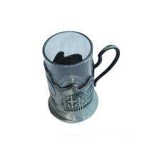 Plated technique glass cup with metal holder