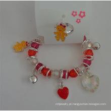 Conjunto de pulseira de coração & Animal elástico e anel