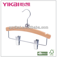 flat wooden children suit hanger with metal clips and U notches