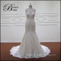 Sereia de champanhe cheia do laço equipado vestido de noiva sem costas