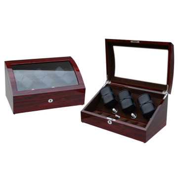 Triple Rotors Watch Winder Buatan Kayu