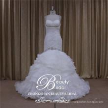 Sweetheart organza robe de mariée sirène, perlant la robe de mariée 2017