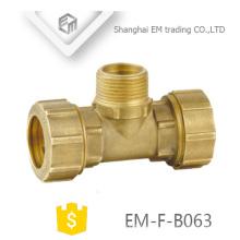 Material de cobre de fontanería EM-F-B063 y accesorio forjado Accesorio de compresión de latón de 3 vías