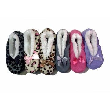 Bowknot lana calcetín cómodo zapatillas de las mujeres puntos Sole