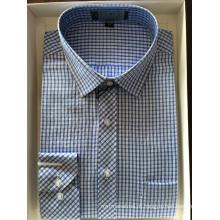 Camisa empresarial de tecido tingido de fio de algodão