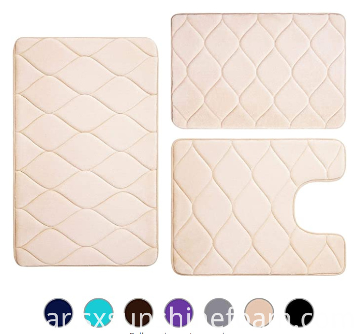 Memory Foam Bath Mat 3pcs Set