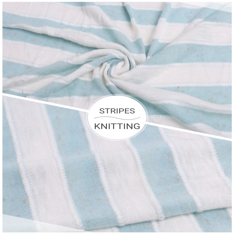 Custom Blue and White Stripes Knitted Jersey Fabric (2)