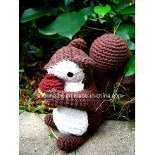 Hand Knit Crochet Plush Amigurumi Stuffed Squirrel Toy Doll