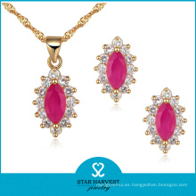 Venta al por mayor Pink Rose Silver Jewellery Set en stock (J-0043)
