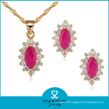 Wholesale Pink Rose Silver Jewellery Set in Stock (J-0043)