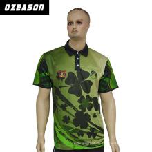Fertigen Sie das vierblättriges Kleeblatt-Polo-Hemd der Qualitäts- (100% Polyester) Männer, grünes Polo besonders an