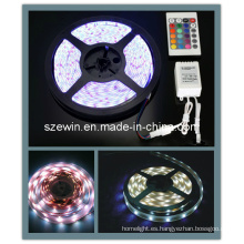 5050 SMD RGB LED Tira de luz flexible impermeable 5m 300 LED + 24 teclas IR