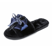 2019 hot sale plush women in-door slippers satin bowknot cotton plush in-door slippers Korean design fashion plush slippers