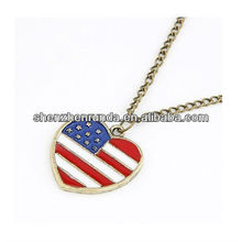 Colgante del corazón del colgante del corazón de la bandera americana
