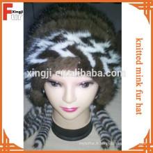 Chapeau en fourrure de vison tricoté de qualité supérieure