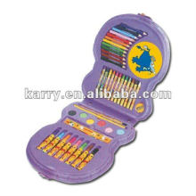 43 PCS STATIONERY SET WITH WATER COLOR PENS PENCILS CRAYONS RULER PRESSED POWDER AND PAINTBRUSH