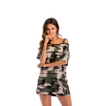Camuflaje Strapless Casual Off-the-Shoulder Camiseta de mujer