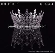 Moda metal prata chapeado rodada completa big pageant meninos coroas