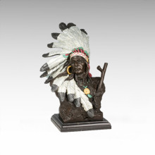 Busts Brass Statue Feather Male Decoration Bronze Sculpture Tpy-473