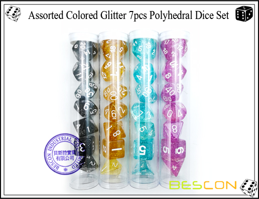 Assorted Colored Glitter 7pcs Polyhedral Dice Set-16