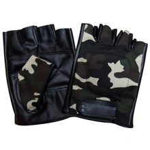 Men′s Fashion Fingerless Camouflage PU Leather Driving Sports Gloves (YKY5023)