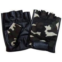Camuflagem fingerless moda masculina de couro pu luvas de condução de esportes (yky5023)