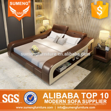 2017 modern elegant spotlight leather bedroom furniture set with bookcase