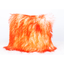 Mongolian Lamb Fur Cushion Bleached with Orange top