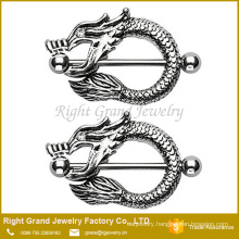 Surgical Steel Dragon Fire Mouth Nipple Shield Bar Barbell 14G