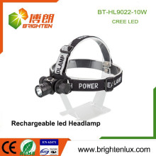 Factory Wholesale Aluminium Metal 3 Mode Light 10w Rechargeable Cree xml t6 Led Highlight Headlamp Headlight