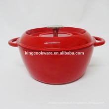 Novo design para revestimento de esmalte vermelho sopa de ferro fundido wok / caçarola / panela / cocotte / panelas