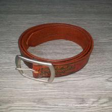 Vintage brown flower & leaf embossed custom men leather belt