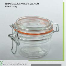125ml / 200ml / 350ml Frasco de cristal popular del clip / envase / botella con el vidrio / la tapa de cerámica para el supermercado