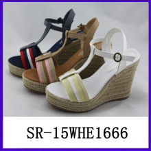 2015 Las nuevas mujeres vendedoras calientes del zapato del wadge de las mujeres del diseño calzan el zapato de las mujeres