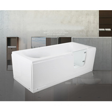 1700mm Acrylic Walk in bathtub with glass door for old people