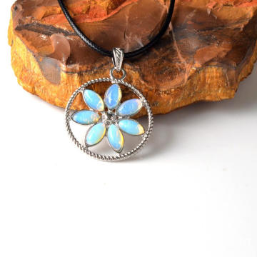 Chakras Stone Flower of Life Pendant Necklace