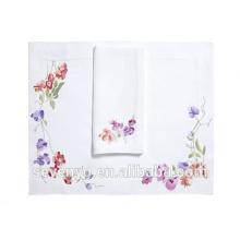 Serviette en éponge 100% coton Beau motif violet colorpetals Essuie mains Ht-023