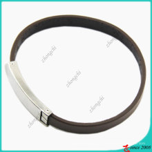 Moda jóias pulseira de couro genuíno preto simples (lb)