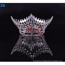 Moda Zhanggong cristais de cabelo do bebê acessórios rei plena coroa pagão rodada