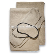 PK18ST001 100% cashmere cable travel throw set with blanket, eye mask, socks, carry/pillow case